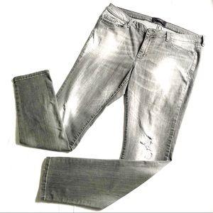 Violeta by Mango Grey Distressed Skinny Jeans